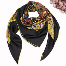 140*140cm customized florals printed square indian silk scarf custom