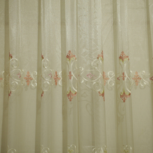white tulle fabric with purple flower pattern lace border embroidery for occasions curtain SXN04115