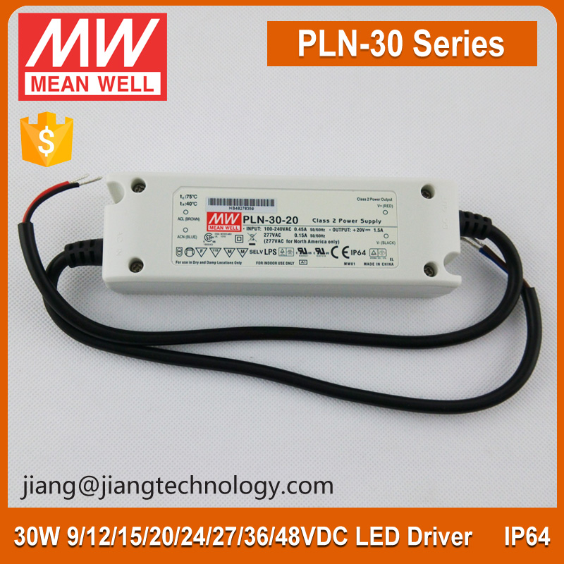 Meanwell PSU 24Vdc PLN-30-24 30W LED Driver 24V