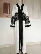 High quality embroidered polyester white abaya kimono cardigan evening dress