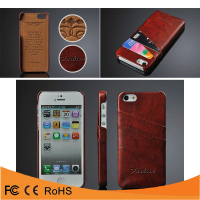 Genuine leather wallet credit card holder back cover case for iphone 5
