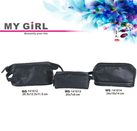 Wholesale top quality Latest designer MY GIRL soft black discount high quality mini pvc cosmetic bag