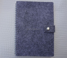 gray felt fabric covered spiral notebooks