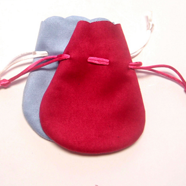 Small Red Microfiber Jewelry Drawstring Pouch with Logo
