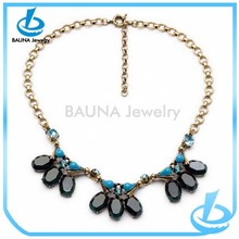 Vogue simple gold thin chain fashion black flower choker with blue beads