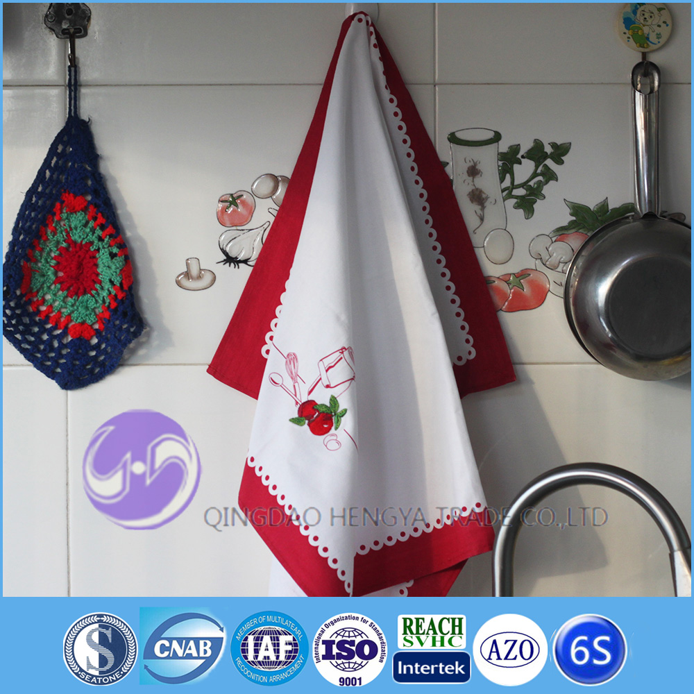 Custom design 100% cotton printing embroidered kitchen tea towel