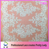 New designs thailand voile lace guipure embroidery lace fabric/dry lace fabric for dress