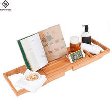 Luxury Premium Bamboo Bathtub Caddy Bath Tub Tray with Extending Sides Built in Book Tablet Holder Cellphone Tray