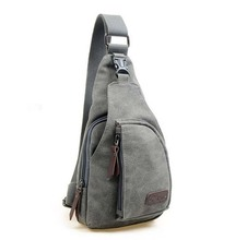Canvas Messenger Sling Body Bag Backpack Sport Day Hiking Bag Gray