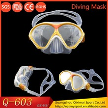 Popular novelty waterproof good vision food grade silicone scuba diving goggles gear for kids