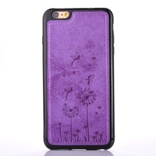 Dandelion pattern Soft TPU mobile accessories for iPhone 7 leather skin cell phone back cover