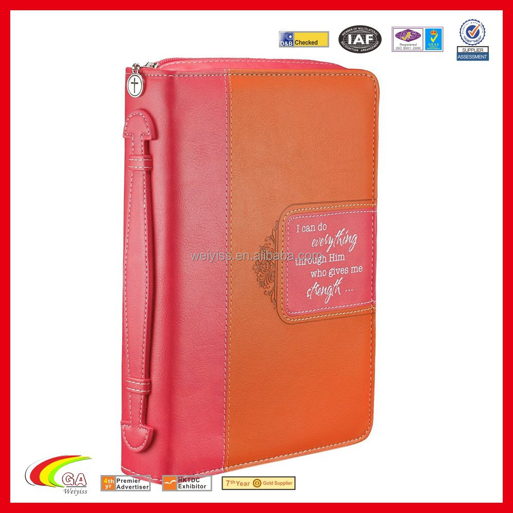 Customized Zipper Bible book Cover with Handle New Style for Lady