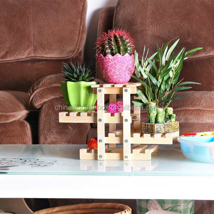 Small potted flower wooden stand