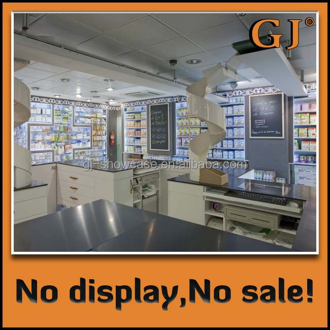 Pharmacy retail store display shelves for pharmacy shop decoration