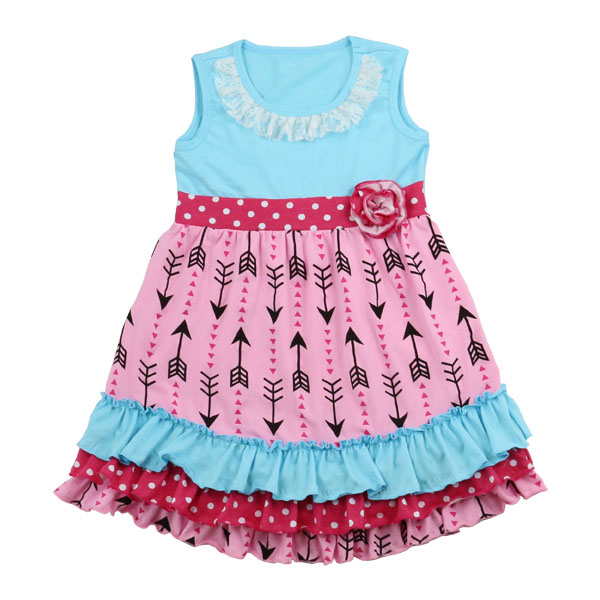 2017 kids spring dresses cotton knit latest children frocks designs arrow flower pink red modern cute Names Of Girls Dresses