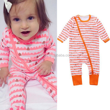 Wholesale gender neutal jumpsuit long sleeve two way zippered knitted baby romper cotton stripes sleepsuit