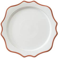 Wholesale 13 inch royal ceramic charger plate with rose gold rim