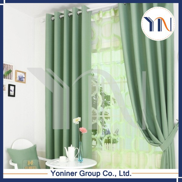 2015 hot sale/ 100% Polyester blackout fabric/plain curtain/ready-made curtain fire resist China wholesale