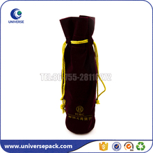 Luxury Customized Single Velvet Wine Bottle Bag With Drawstring