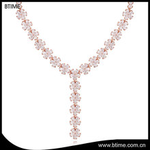 Classic style fashion bridal flower necklace cubic zirconia wedding jewelry