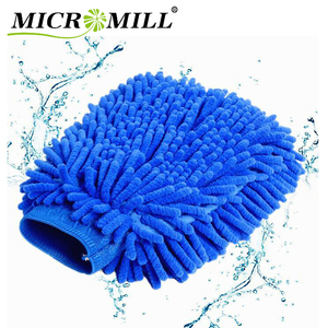 Car wash mitt chenille, double-sided microfiber cleaning glove