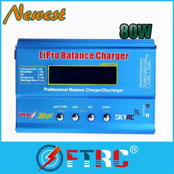 The latest 80W IMAX B6 Digital RC Lipo NiMh Battery Balance Charger AC POWER 12V 5A Adapter 2S-6S 7.4V-22.2V