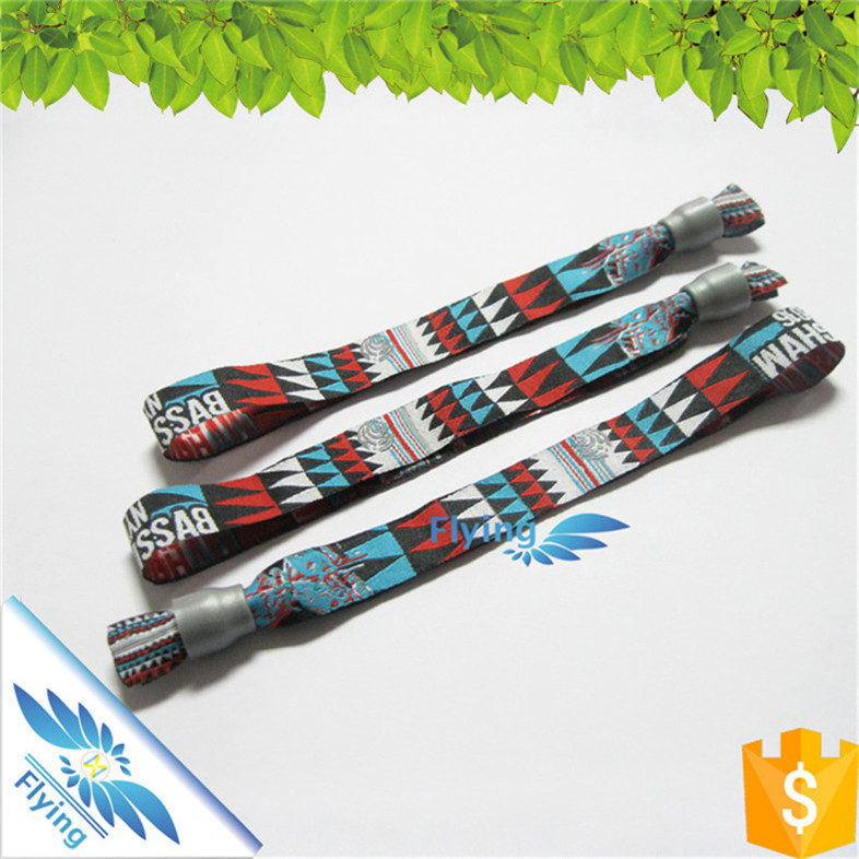 school/ club/ festival/ music concert polyester customized woven wristbands events with low price and good quality
