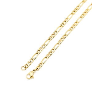 Fashion Stainless Steel Jewelry 14k Gold Plated Two Tone Flat Byzantine Chain