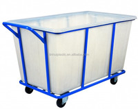 Solid wheeled PE storage container laundry cart with wheels wholesale