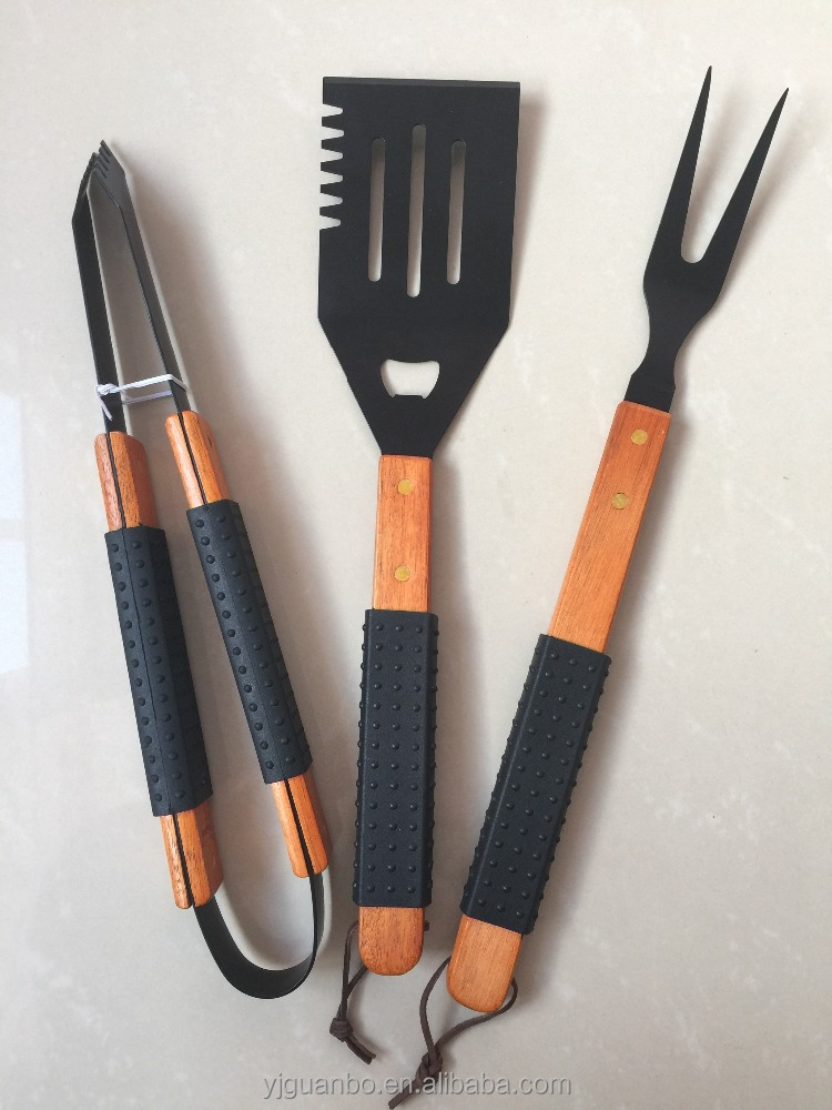 Non-stick coating bbq tool set Custom wooden&silicone handle bbq set camping