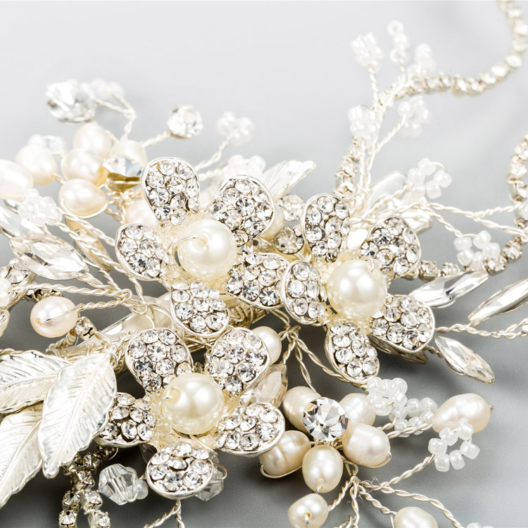 Women Headpiece Marquise Floating Freshwater Pearls and Beads Rhinestone Claw Chain Wedding Hair Clip Bridal Hair Ornaments