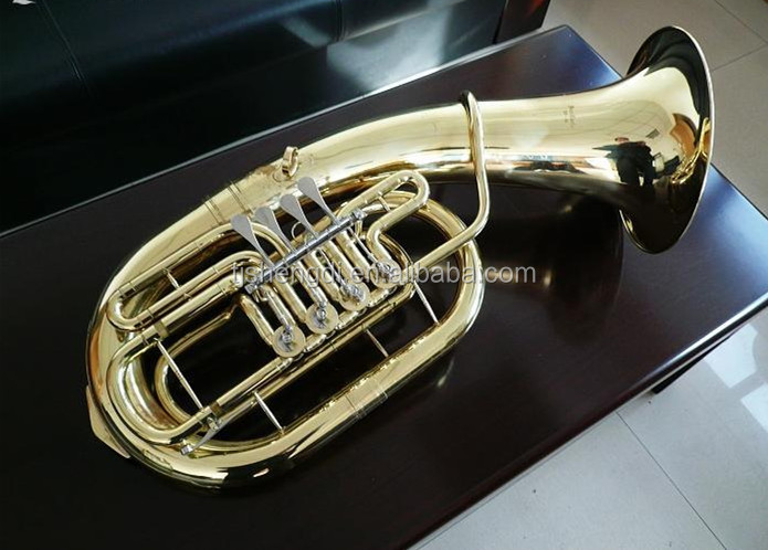 4 Valves Gold Lacquer Bb Key Piston Tuba for sale (SDTU-991)