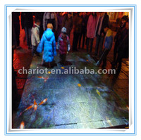Playing interactive floor games by using interactive floor projection system in kids center
