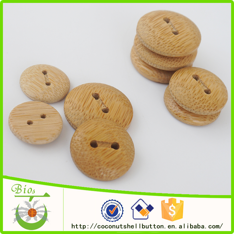 2 holes natural bamboo round dome buttons antique