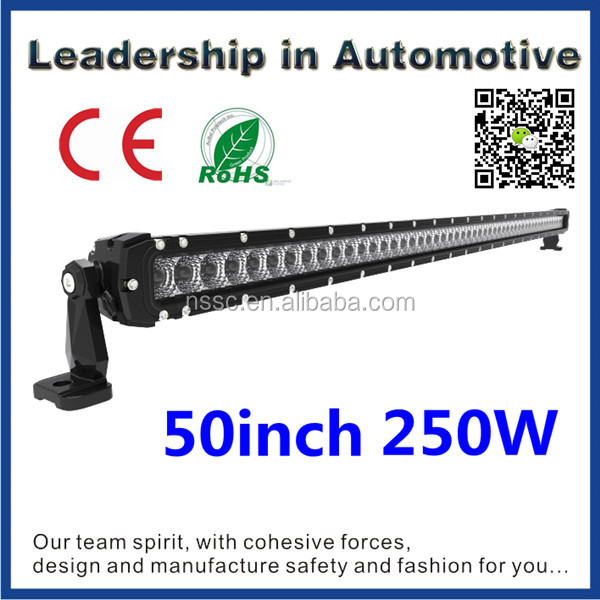 "High performance Single Row 50"" 250w 29100lm led light bar with lifetime warranty,IP68,E-Mark,for Jeep JK,truck,car,offroad 4x4"