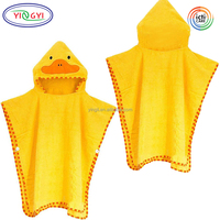 F520 Perfect Baby Convenient Hooded Towel Baby Bath Robe Cotton Yellow Duck Animal Baby Bathrobe