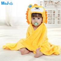 Lion Design Embroidered Hoodie Soft Plush Bathrobe Bath Towel Blanket (Duck,Frog)