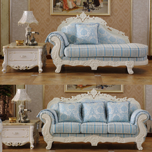 Carving Solid Rubber Wood Frame Light Blue Chenille Uphostery 3 Seater Sofa with Chaise Lounge