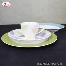 Hot selling dinner set fine bone china with colorful leaves YG17225