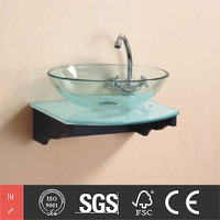 Wall Mounted Bathroom Round Glass Sinks