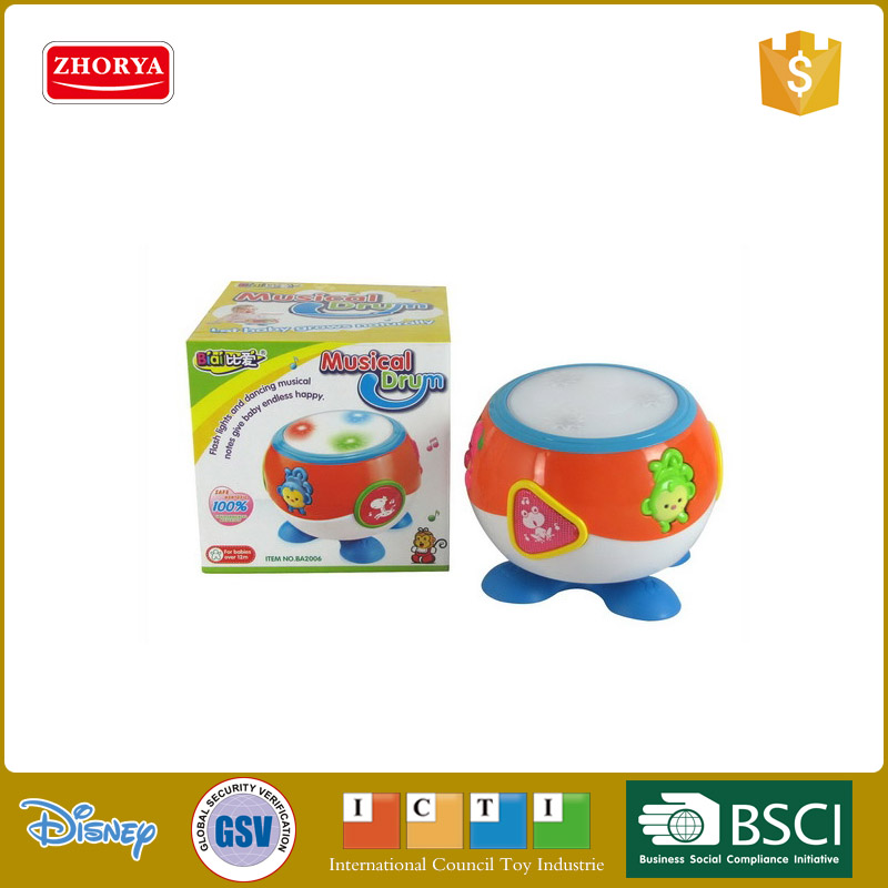 Hq educational toy musical instrument kids plastic B/O animal music and light up hand drum toys