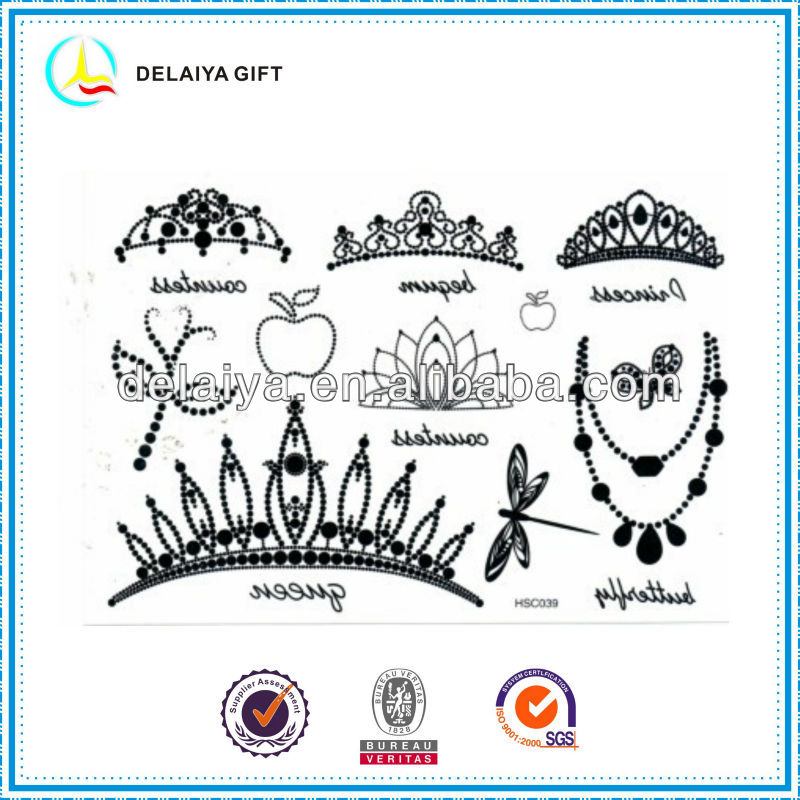 lovely crown key temporary tatoo sticker