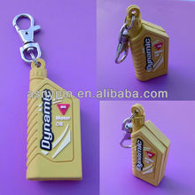 Creative new rubber 3d bottle shape key tags/ customized gas drum key chain holder