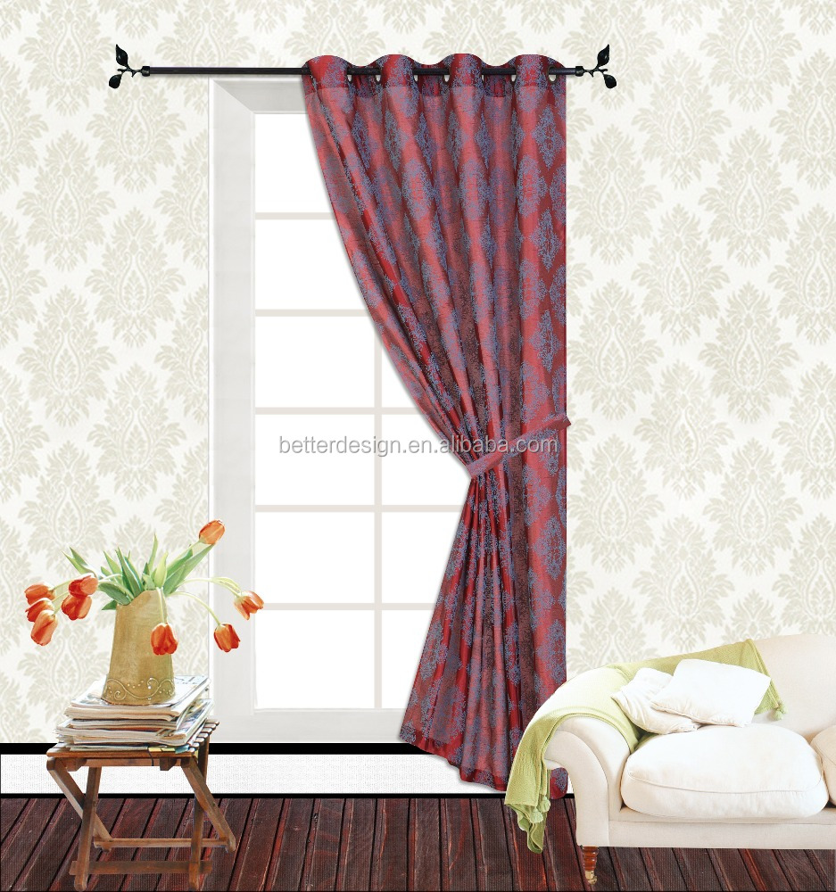 1 PC POLYESTER FLOCKING FABRIC WINDOW CURTAIN WITH GROMMETS