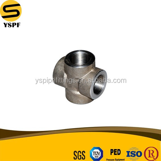 Carbon Steel Galvanized Pipe 4 Inch NPT Threaded Cross Forged Fitting Class 2000 3000 6000