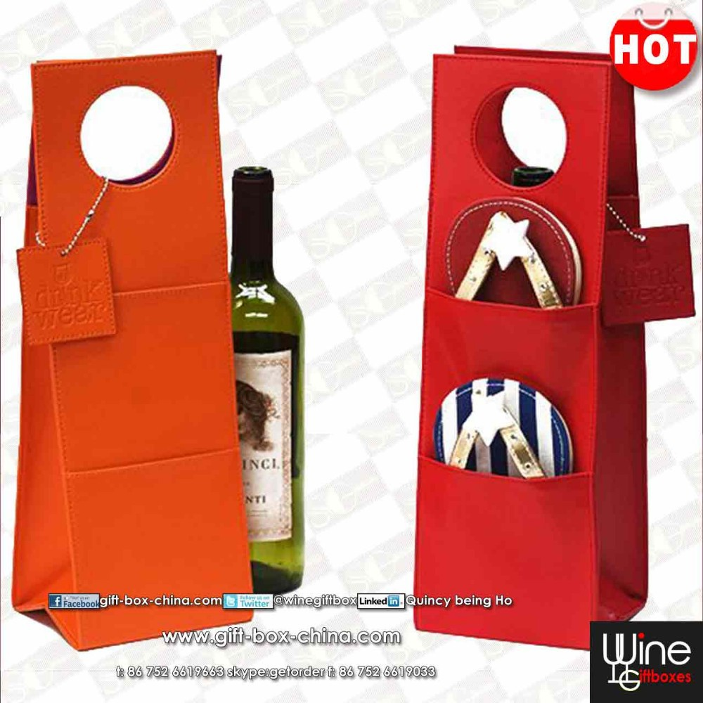 Exclusive leather wine tote carrier bag