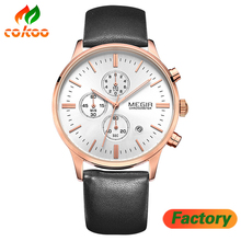 Men watch Good PRICE MEGIR Leather Men Watch Luxury Chronograph 6 Hands China Watch Manufacturer