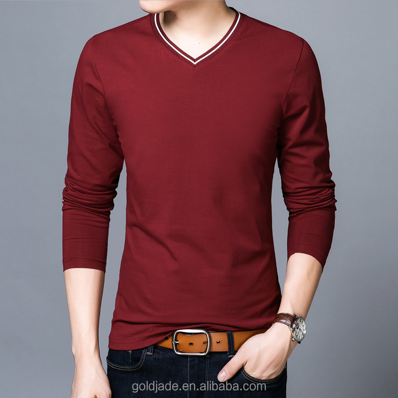 China factory V neck Blank Good Quality Long Sleeve Cotton Inner T Shirt In Bulk Sales