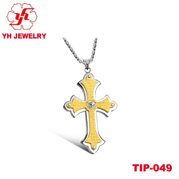 2015 Nobility Titanium Gold Cross Pendant Inlay Diamond With Outstanding Quality Best Sell In At Home and Abroad