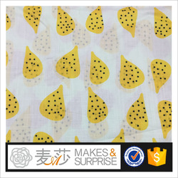 100% cotton slubbed printed fabric cute colorful fruits design for kids shirt summer garments